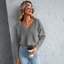 Raglan Sleeve Cable Knit Crop Sweater
