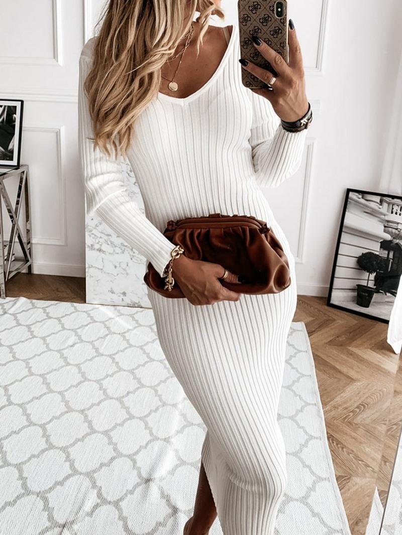 Ericdress V-Neck Long Sleeve Mid-Calf Pullover Sexy Dress