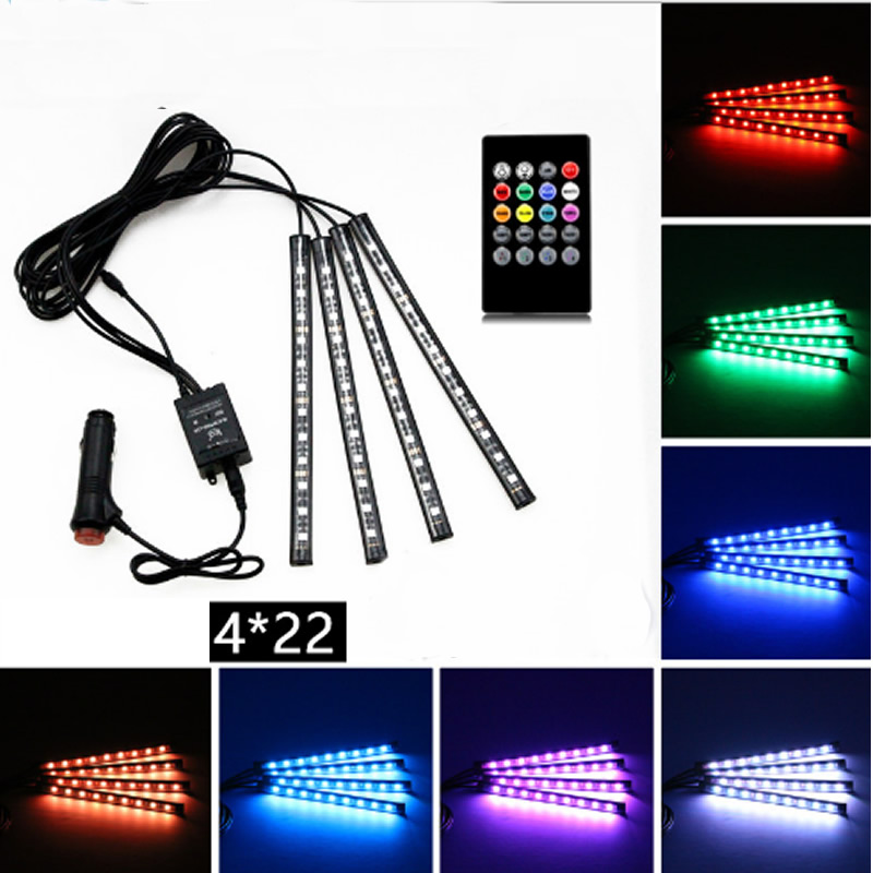 7 Colors Voice Control LED Decoration Lights For Car Interior (Control Panel Included)