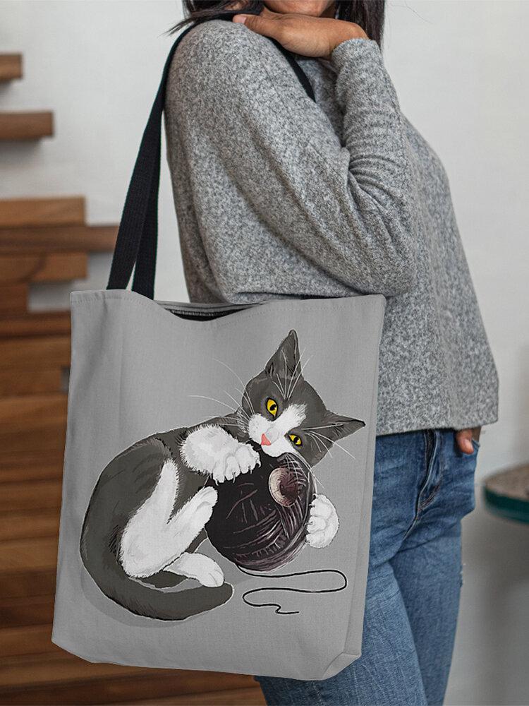 Women Felt Cat Print Handbag Shoulder Bag Tote