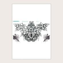 Tattoo Aufkleber mit Herzen & Blumen Muster