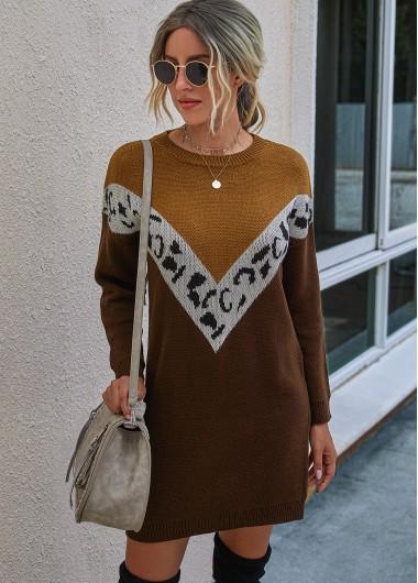 Cocktail Party Dress Leopard Long Sleeve Contrast Sweater Dress - XL