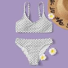 Maedchen Polka Dot Bikini Badeanzug