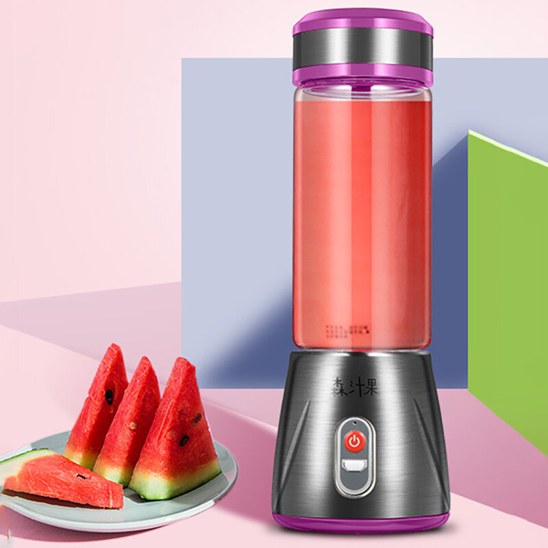 Glass Electrical Fruit Juicer Bottle Stainless Steel Juice Maker Machine Portable Blender Mixer