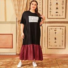 Kleid mit Buchstaben Grafik und Kontrast Karo Muster