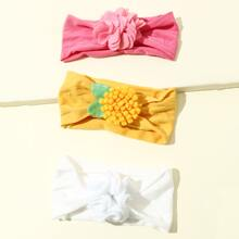 3pcs Toddler Girls Flower Decor Headband