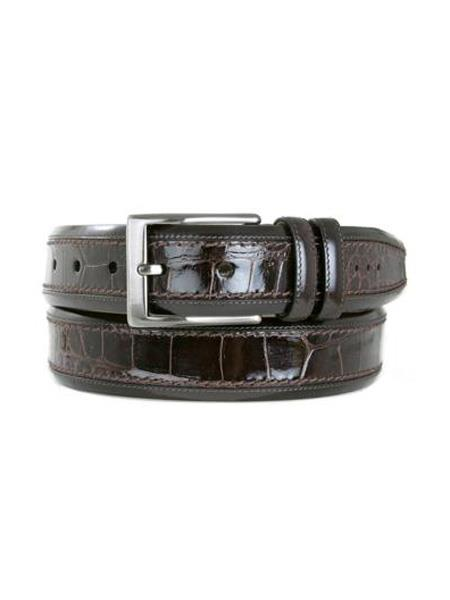 Mezlan Brand Men's Genuine Crocodile Brown Skin Belt