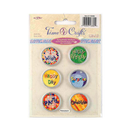 Self-Adhesive Party Scrapbook Metal Stickers, Round Shape - Time 4 Crafts
