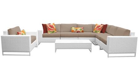 Miami MIAMI-08b-WHEAT 8-Piece Wicker Patio Furniture Set 08b with 1 Corner Chair  3 Armless Chairs  1 Coffee Table  1 Club Chair  1 Left Arm Chair