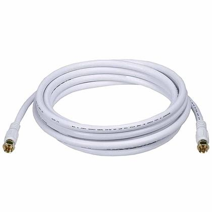RG6 (18AWG) 75Ohm, Quad Shield, CL2 Coaxial Cable with F Type Connector-White(9 Lengths)-Monoprice - 10ft