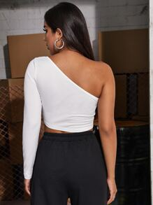One Shoulder Cut Out Solid Tee
