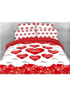 Romantic Red Heart Shaped Printing 4-Piece 3D Bedding Sets/Duvet Covers