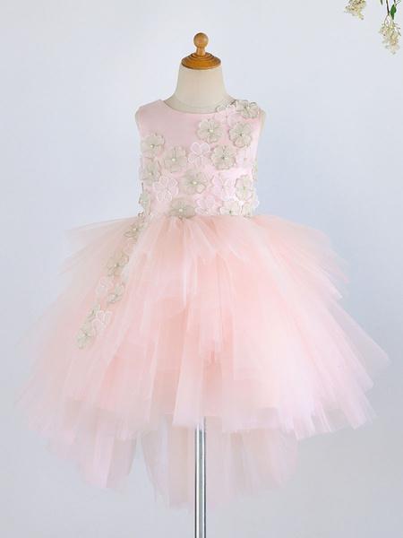 Milanoo Flower Girl Dresses Jewel Neck Sleeveless Flowers Kids Social Party Dresses