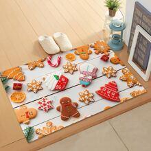 Christmas Biscuit Print Floor Mat