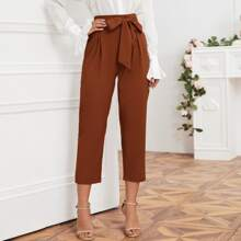 Solid Self Tie Cropped Pants