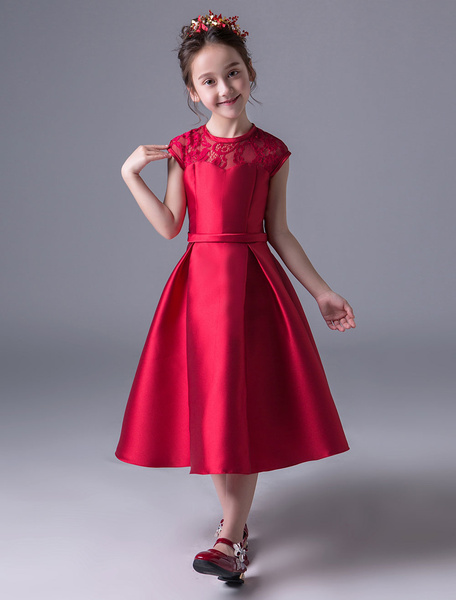 Milanoo Flower Girl Dresses Burgundy Satin Pageant Dress Little Girls Open Back A Line Lace Tea Length Kids Formal Party Dress