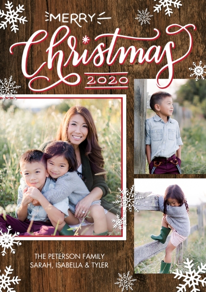 Christmas Photo Cards Flat Glossy Photo Paper Cards with Envelopes, 5x7, Card & Stationery -2020 Christmas Red Frame by Tumbalina