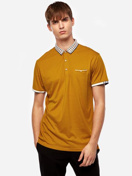Yoins Yellow Solid Color Fake Pocket Short Sleeve Men's Lapel Collar T-Shirt