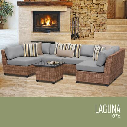 LAGUNA-07c-GREY Laguna 7 Piece Outdoor Wicker Patio Furniture Set 07c with 2 Covers: Wheat and