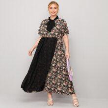 Plus Floral Print Tie Neck Chiffon Panel Dress