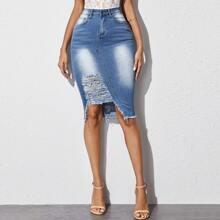 Ripped Asymmetrical Hem Denim Skirt