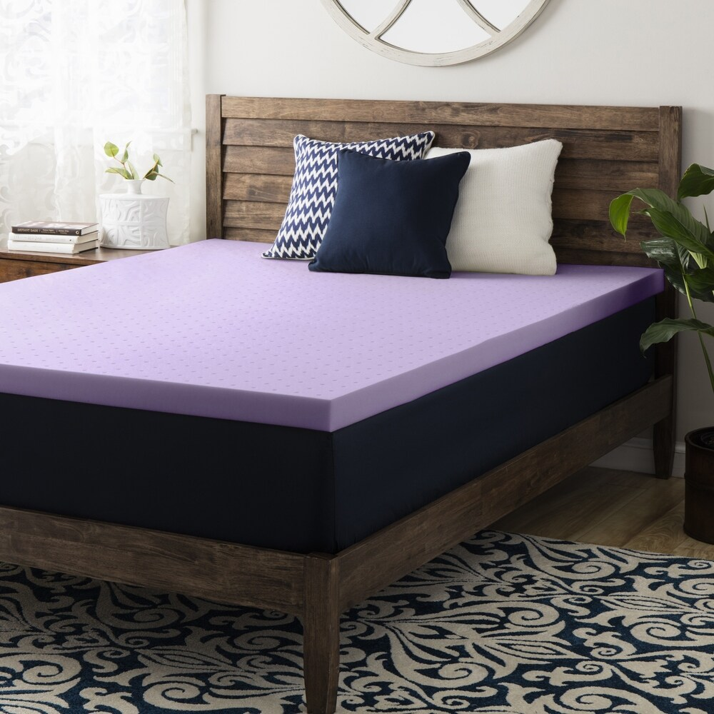 2 Inch Lavender Memory Foam Mattress Topper - Crown Comfort (Twin)