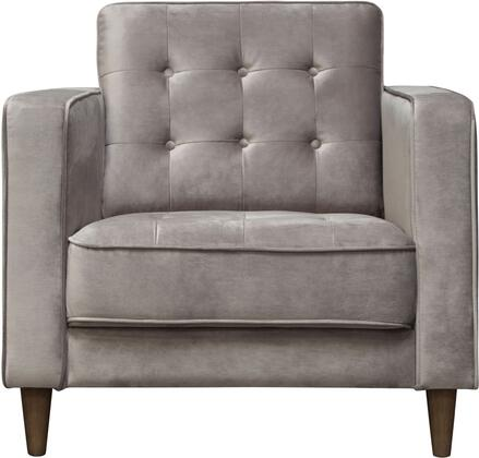 Juniper Collection JUNIPER-CH-CG Chair with Velvet Upholstery  Button Tufting  Piped Stitching  Tapered Legs and Contemporary Style in Champagne
