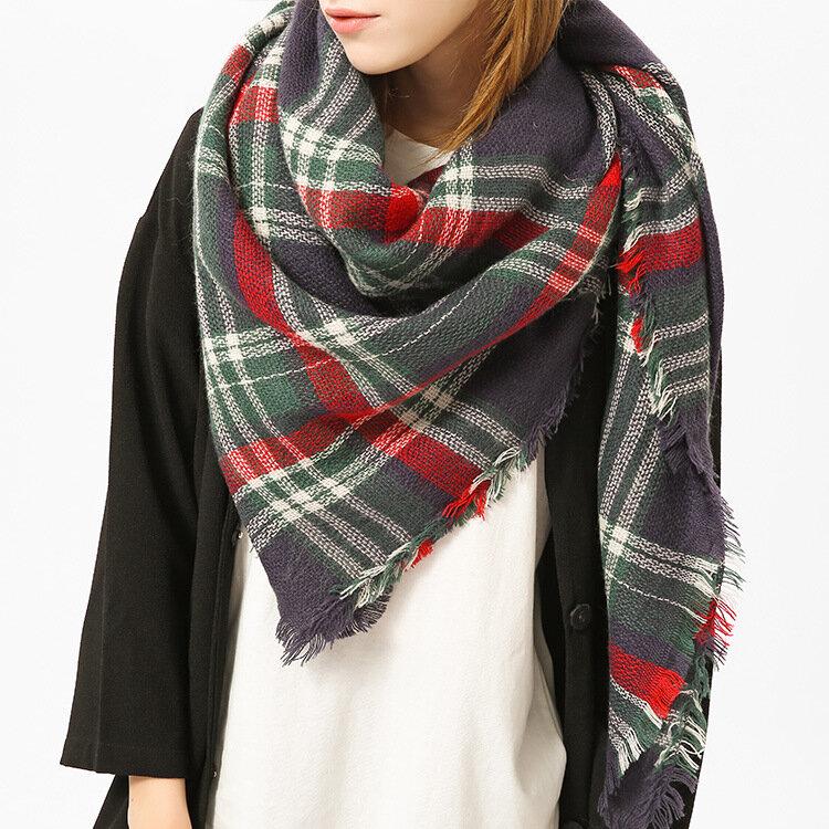 Women Plaid Blanket Scarf Basic Shawls Casual High Quality Winter Warm Tartan Scarves