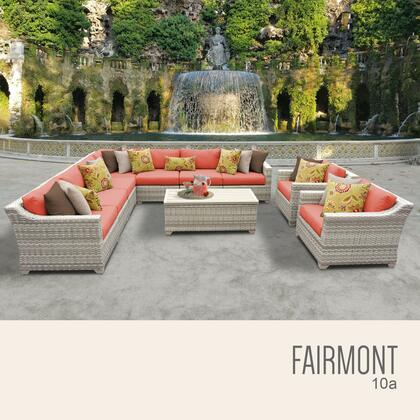 FAIRMONT-10a-TANGERINE Fairmont 10 Piece Outdoor Wicker Patio Furniture Set 10a with 2 Covers: Beige and