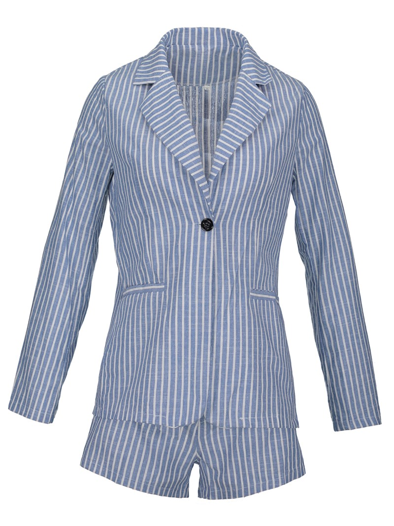 Ericdress Stripe Shorts and Jacket Women's Two Piece Set