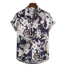 Guys Floral Print Pocket Front Shirt