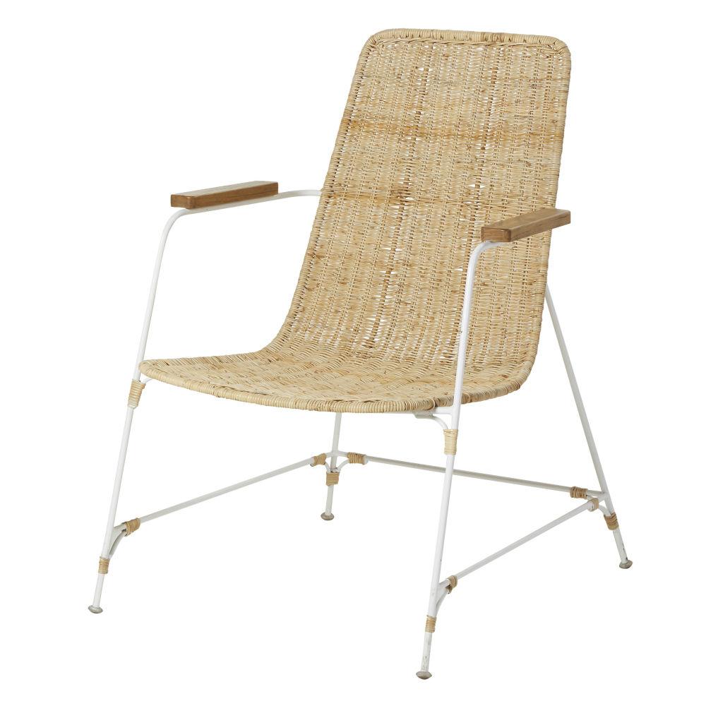 Sessel aus geflochtenem Rattan und weissem Metall Pacific