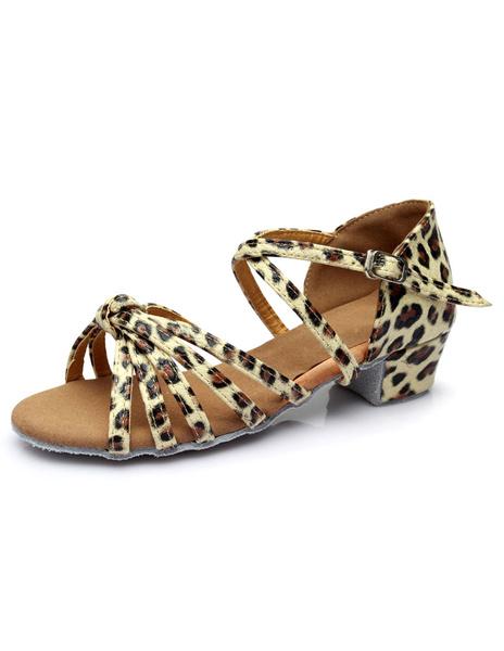 Milanoo Gold Latin Dance Sandals Cut Out Straps PU Heels