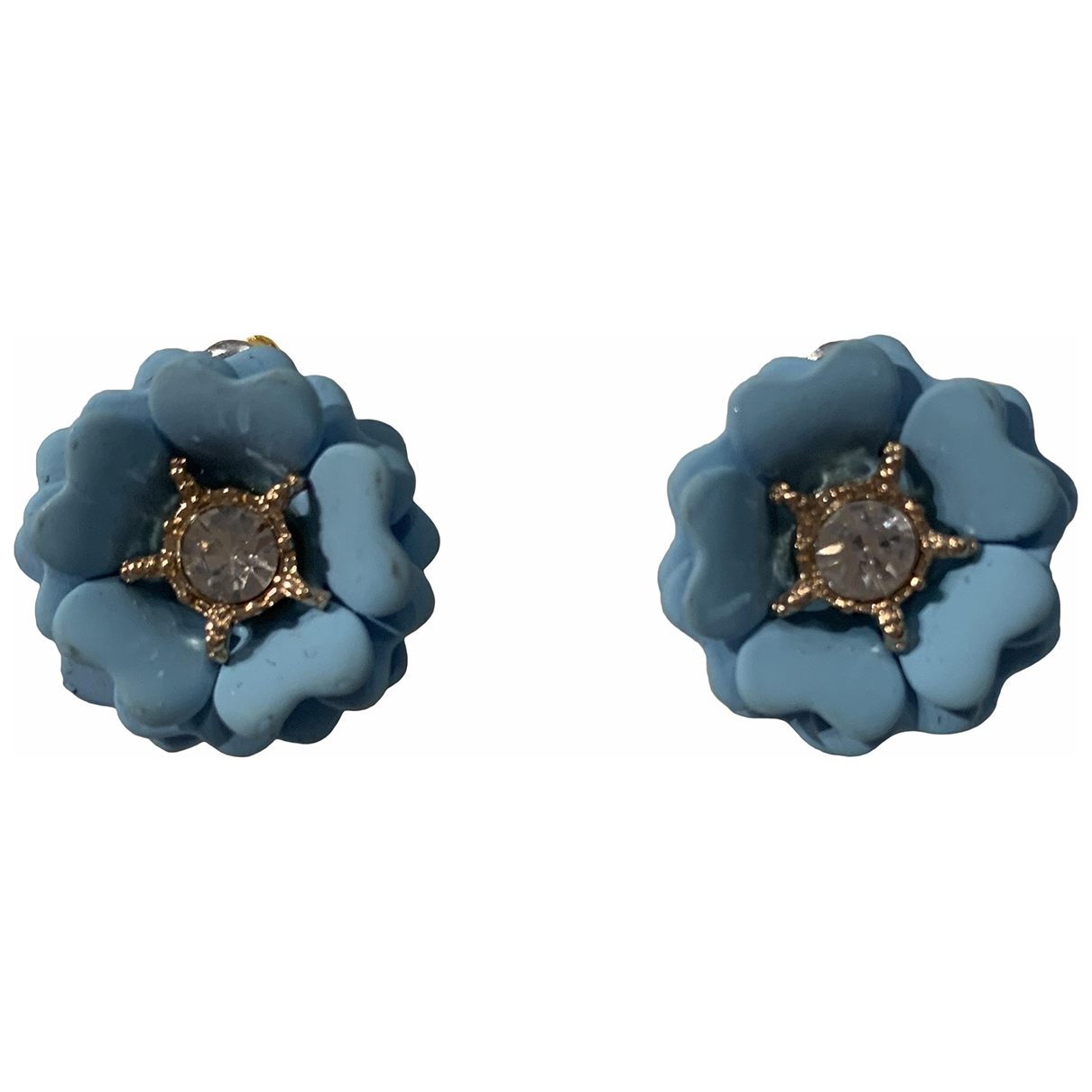 Non Signe / Unsigned Motifs Floraux OhrRing in  Blau Kunststoff