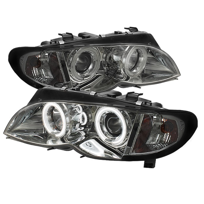 Spyder Auto PRO-YD-BMWE4602-4D-AM-CCFL-SM 1PC Smoke CCFL Halo Projector Headlights with High H1 and Low H7 Lights Included BMW E46 318d 4Dr 02-05