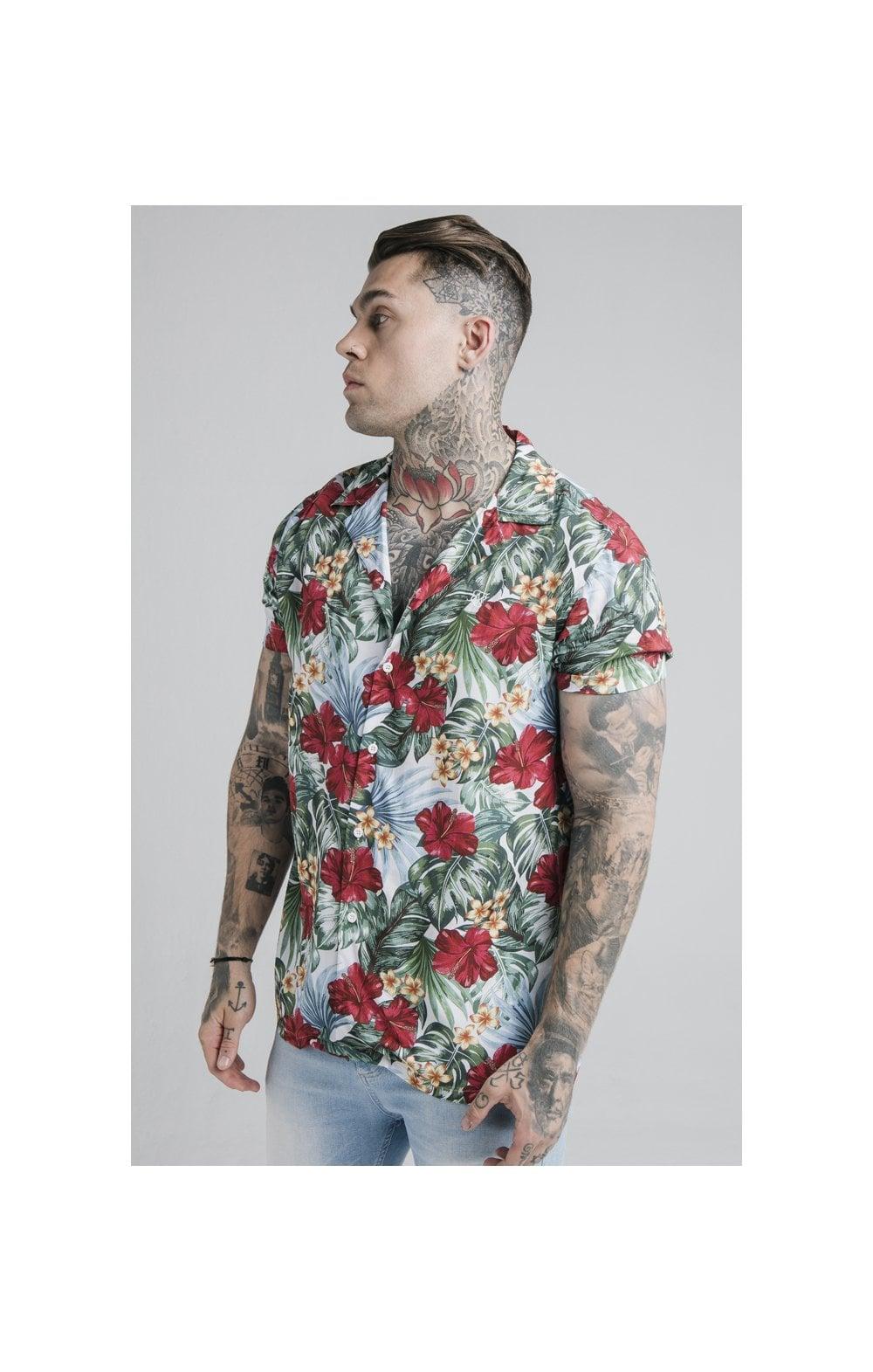 SikSilk 70's Floral Resort Shirt  White MEN SIZES TOP: XS