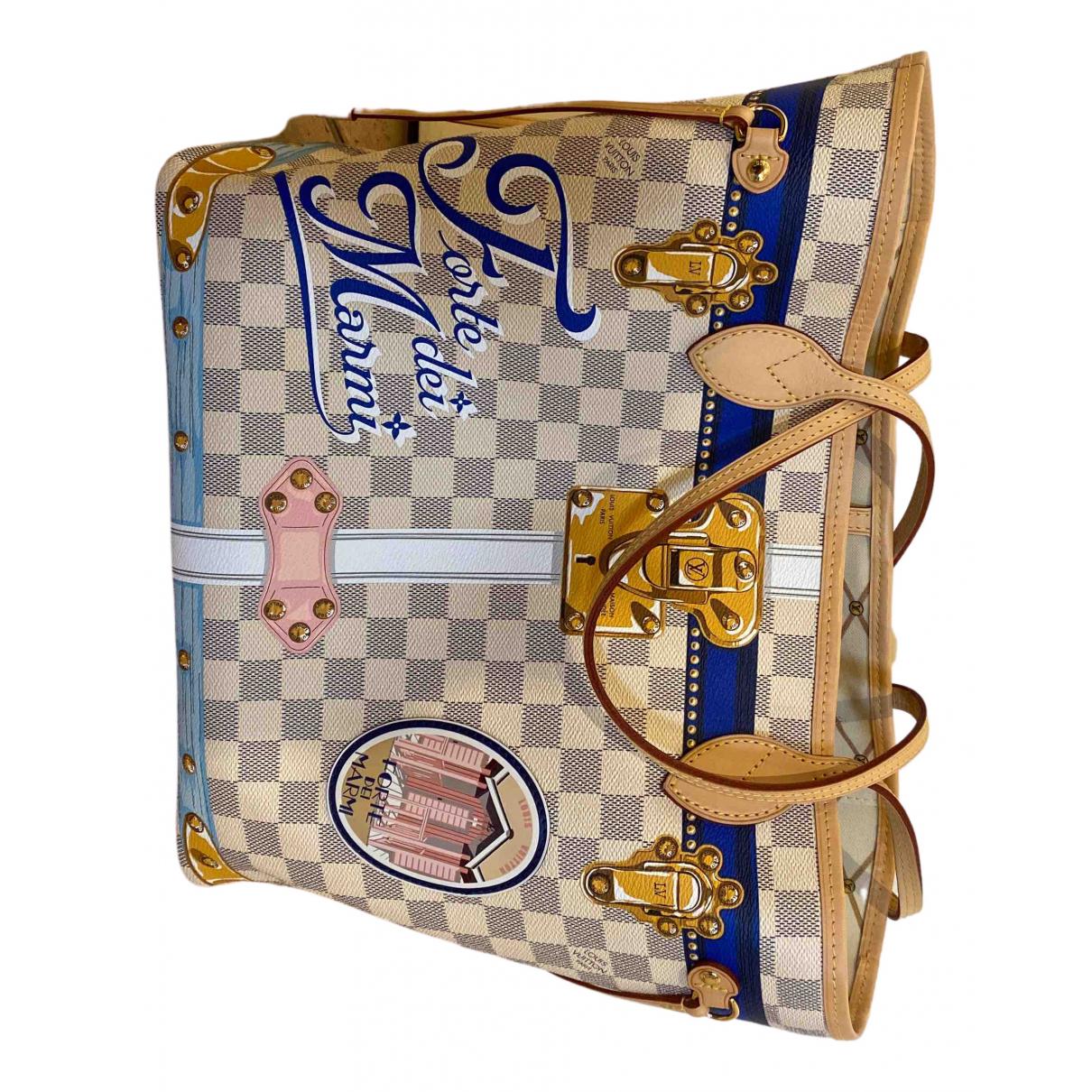 Louis Vuitton Neverfull Handtasche in  Weiss Leinen