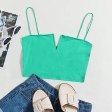 Notched Front Crop Cami Top