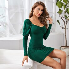 Ruched Bust Gigot Sleeve Bodycon Dress