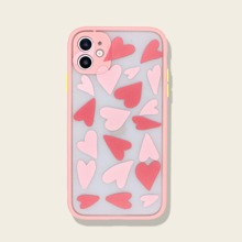 1pc Heart Print Contrast Frame iPhone Case