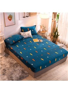 Cartoon Carrots Coral Velvet Bed Cover Warm Mattress Cover Peacock Blue Fitted Sheet