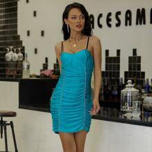 Yilibasha Contrast Binding Ruched Bustier Bodycon Dress