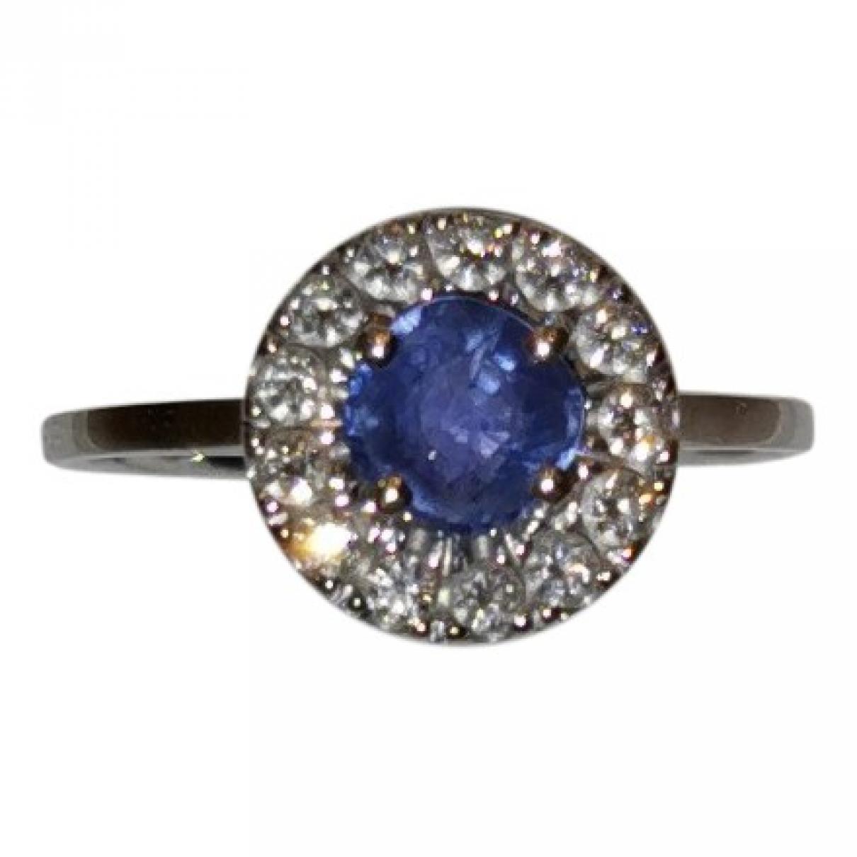 - Bague Saphir pour femme en or blanc - bleu