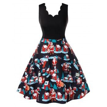 Plus Size Santa Claus Printed Sleeveless Dress