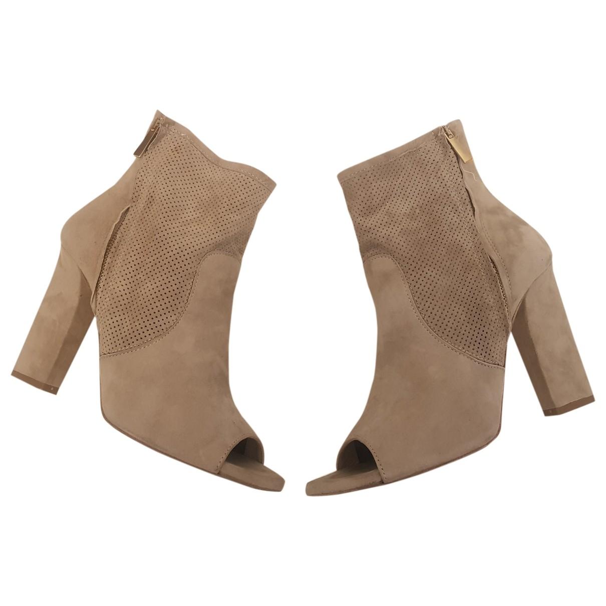 - Boots   pour femme en suede - beige