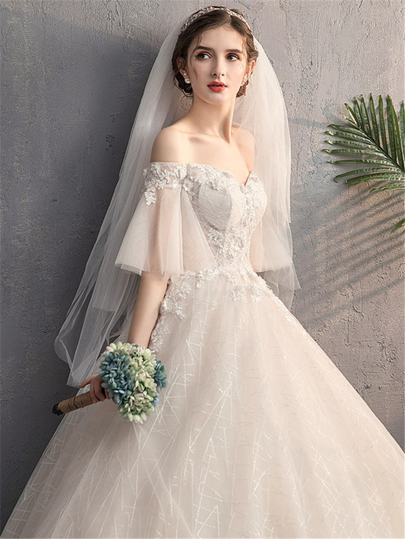 Ericdress Off-The-Shoulder A-Line Half Sleeves Beading Hall Wedding Dress 2020