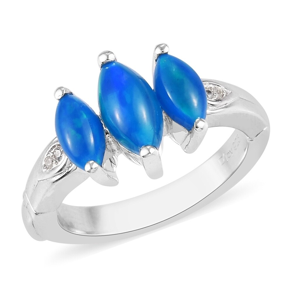 Platinum Over Sterling Silver Opal Ring Size 8 Ct 1.7 - Ring 8 (Opal - Ring 8)