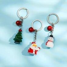 3 piezas llavero con diseño de Papa Noel de Navidad