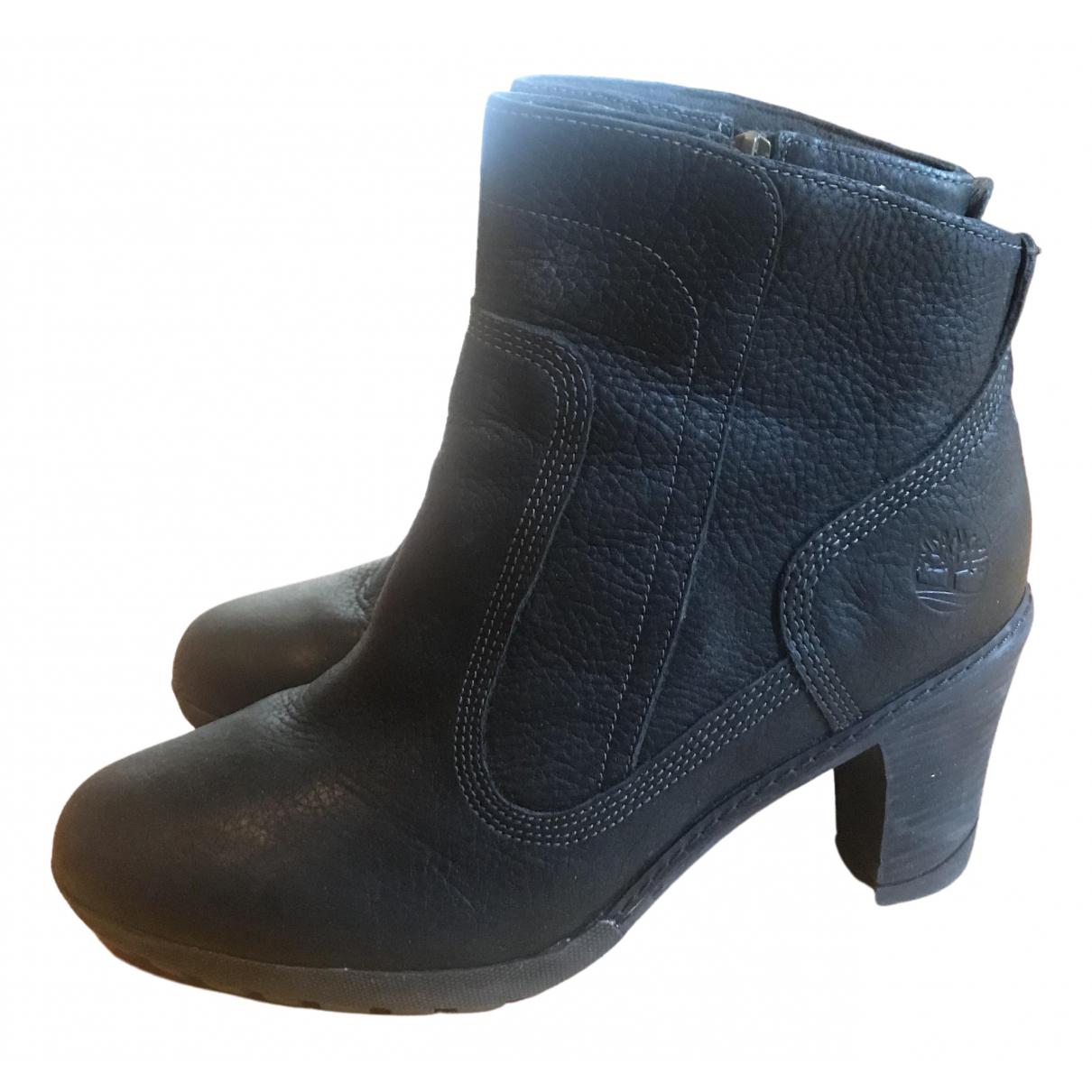Timberland - Bottes   pour femme en cuir - noir