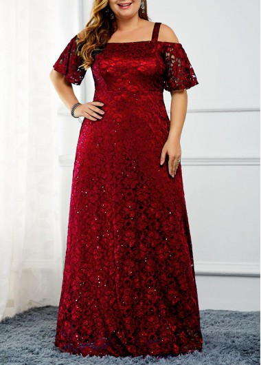 Women'S Wine Red Cold Shoulder Cocktail Party Plus Size Dress Burgundy Strappy Sequin Lace Maxi Dress By Rosewe - 3X